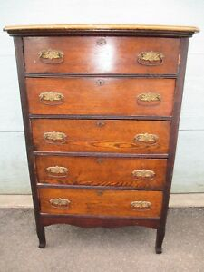 Oak Antique Dresser Highboy Bureau Top Draw Bows Curved Delivery Is Possible