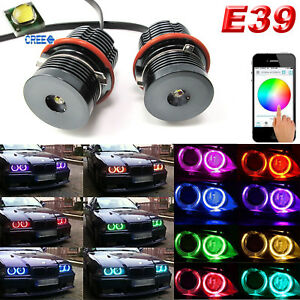 2x Cree Rgb Daytime Running Light Angel Eyes Halo Ring Bulb For Bmw 5 6 7 Series
