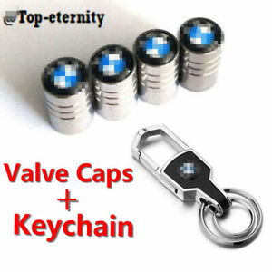 Car Wheel Tire Air Valve Stems Caps Keychain Ring Keyfob Logo Emblem For Bmw