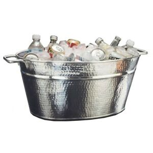 Heavy duty Beverage Party Tub 25 Qt Hammered 18 8 Stainless Steel