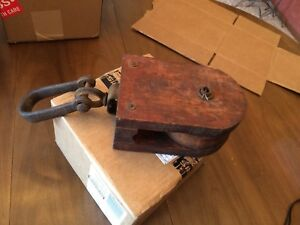 Vintage Wood Barn Pulley