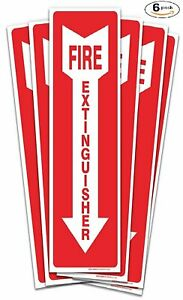 6 Pack Fire Extinguisher Sign Stickers Self Adhesive 4 X 12 4 Mil Vinyl De