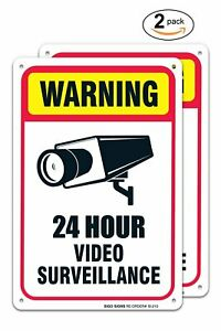 2 Pack 24 Hour Video Surveillance Sign 7 X 10 40 Aluminum For Indoor Or Outd