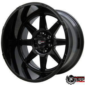 20 Truck Wheels Rims 12 Wide Huge Lip Full Gloss Black Ruggedtuff Fits 6x139 7