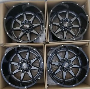 20 Truck Wheels Rims 12 Wide Huge Lip Gunmetal Black Ruggedtuff Fit 8x180