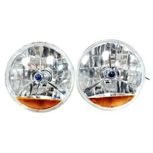 For Chevy Ford Mopar 7 Blue Dot And Orange Turn Signal Tri Bar Headlights