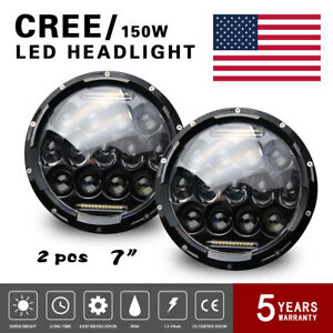 Pair Jeep Wrangler 7 Round Led Headlights Light Lamp Drl Jku Beam Offroad 3us