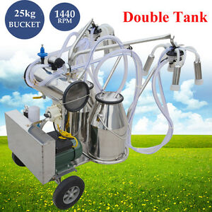 Milker Portable Electric Vacuum Pump Milking Machine Farm Cows Double Tank Good