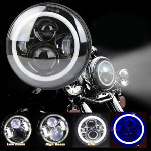 7 universal Blue Halo Ring Drl Led Hi lo Headlight Angel Eye For Harley Davidson