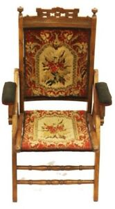 Eastlake Victorian Folding Needle Point Chair With Beautiful Wood Car