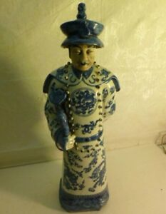 Antique Blue And White Porcelain Chinese Figurine Statue With Markings