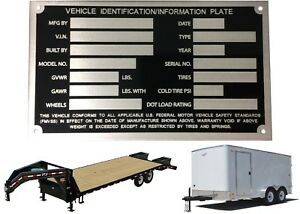 Laser Cut Aluminum Trailer Vin Tag Identification Tag Id Plate New Free Shipping
