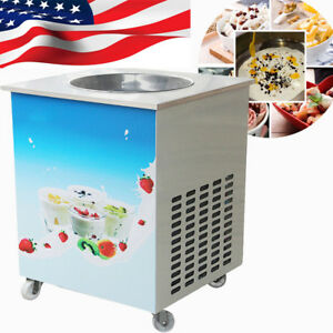 Single Round Pan Fried Ice Cream Roll Machine Commercial Fried Milk Yogurt Maker