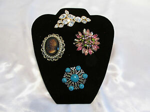 6 Short Black Velvet Lined Necklace Or Jewelry Displays With Rear Easel