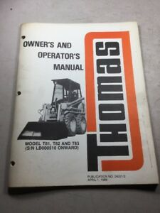 Thomas T81 T82 T83 Skid Steer Owners And Operators Manual