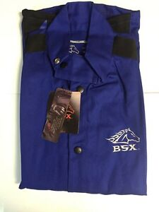 Black Stallion Bsx Bxrb9c Blue Fr Welding Jacket With Blue Flames medium