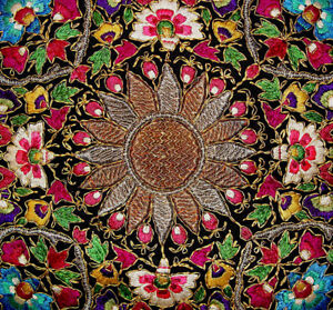 Antique Oriental Silk And Metallic Embroidery Suzani