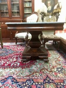 American Classical Empire Flame Mahogany Marble Top Center Table