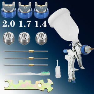 Air Paint Spray Gun Hvlp Gravity Feed Kits 2 0 1 7 1 4mm Nozzle Air Touch Up Gun