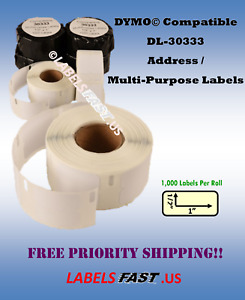 Labels 30333 White Small 1 x 1 2 Adhesive Dymo Labelwriter Turbo Compatible