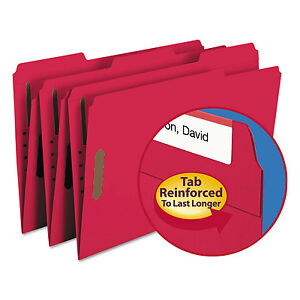Smead Folders Two Fasteners 1 3 Cut Assorted Top Tab Legal Red 50 box 17740
