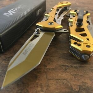 MTECH USA Tanto Spring Assisted Tactical Folding Pocket RESCUE Knife Open Gold