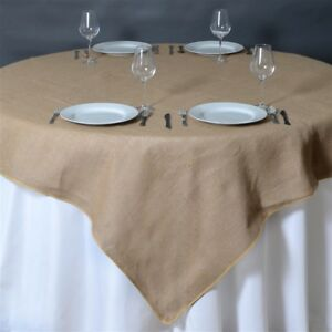 10 Natural Burlap 72x72 Table Overlays Rustic Wedding Party Catering Supplies
