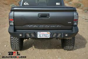 Dv8 Rbtt1 03 Black Powder Coated Rear Bumper W Leds 2016 2018 Toyota Tacoma