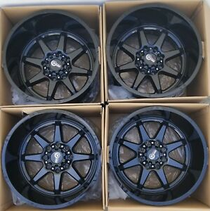 New Rugged Tuff 20 Rims Wheels 20x12 8x6 5 8x165 1 Black For Silverado Sierra