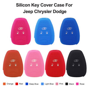 3 Buttons Key Silicon Cover Case Fob Remote Protect Set For Jeep Chrysler Dodge