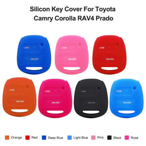 2 Buttons Silicon Case Key Cover Remote Fob For Toyota Camry Corolla Rav4 Prado