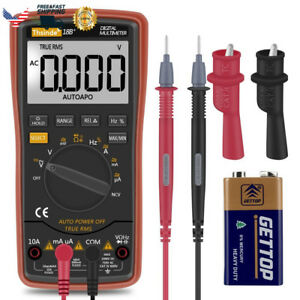 Auto Ranging Digital Multimeter Trms 6000 With Battery Alligator Clips Test