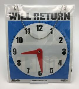 Large Double sided Open Will Return Sign W Clock Hands 7 5 x9 Durable Plastic