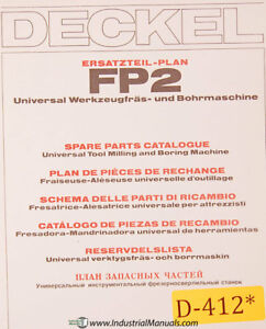 Deckel Fp2 Universal Milling And Boring Spare Parts Manual 1981