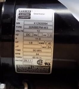 Bodine 32a5bepm w3 Gear Motor 12vdc 1 8 Hp 29 7 1 Ratio New Old Stock