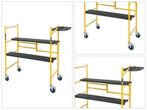 500 Lbs Mini Rolling Scaffold Tool Shelf 4ft Mini Folding Steel Work Bench Area