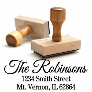 Return Address Stamp Family Last Name Surname Customizable Personalized Wood