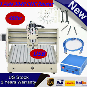 Desktop Usb 3 Axis 3040 Cnc Router Engraver Milling Machine Frame 400w Us Ship