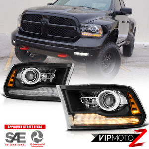13 18 Dodge Ram 1500 2500 3500 Factory Style Black Led Drl Projector Headlight