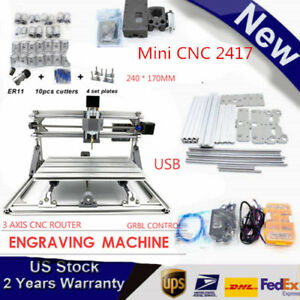 Mini Cnc 2417 Mill Router Kit Usb Desktop Metal Engraver Pcb Milling Machine Us