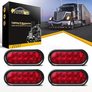 4 Trailer Truck Lights Led Sealed Red 6 Oval Stop Turn Tail Marine Waterproof