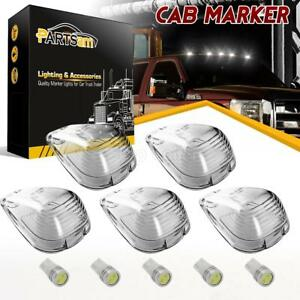5 Roof Light Cab Marker Clear Covers White Epistar Led Bulb For Ford F 350 E 450
