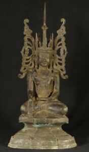 Early 20th Century Antique Bronze Crowned Buddha Statue Antique Buddha Statues