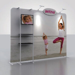 10ft Fabric Tube Trade Show Display Pop Up Banner Booth Tv Stand With Shelves