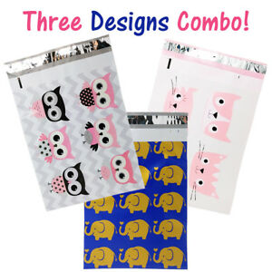10x13 Designer Owls Cat s Poly Mailers Combo Pack Quality Shipping Envelopes