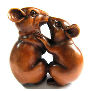 2 Inch Hand Carved Boxwood Netsuke Intimate Hug Mice Fits Diy Pendant Necklace