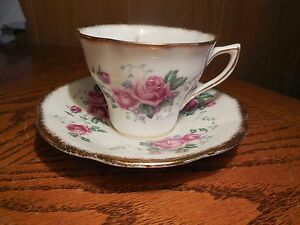 Cup Saucer By Rosina Roses With Gold Colored Trim