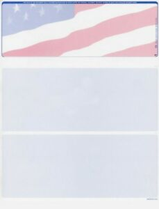 1000 Blank Security Check Paper Checks On Top american Flag