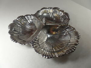 Antique Sterling Silver Dish 3 Sea Shell Design By Meriden Britannia Co