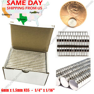 100 500 1000 6mm X 1 5mm 1 4 x1 16 N52 Strong Disc Rare Earth Neodymium Magnets